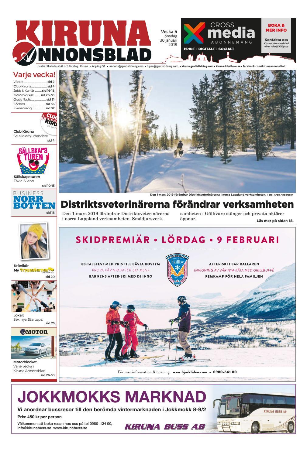 6082675892a2 Kiruna Annonsblad vecka 05, 2019 by Svenska Civildatalogerna AB - issuu