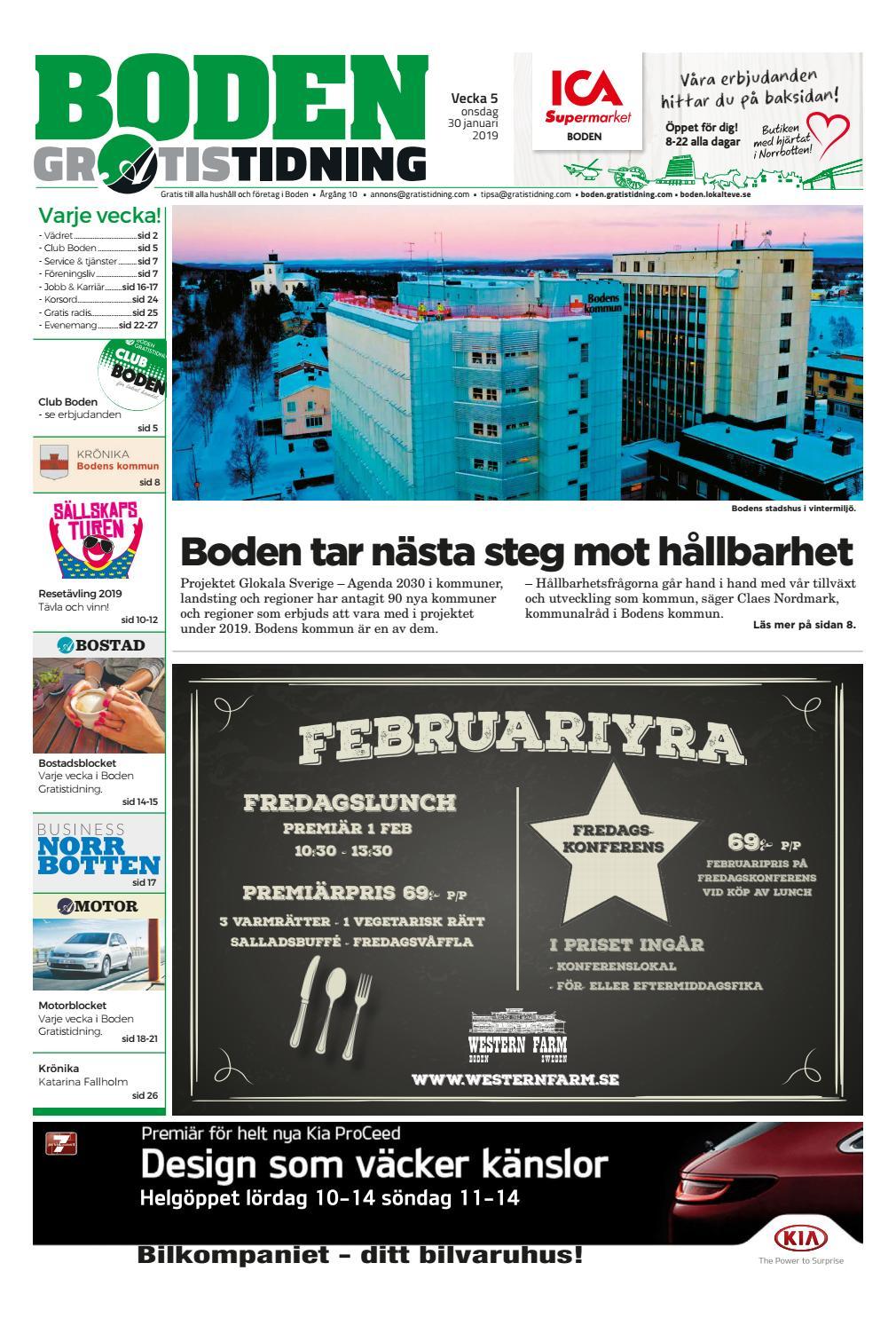 16a1d8572080 Boden Gratistidning vecka 05, 2019 by Svenska Civildatalogerna AB - issuu