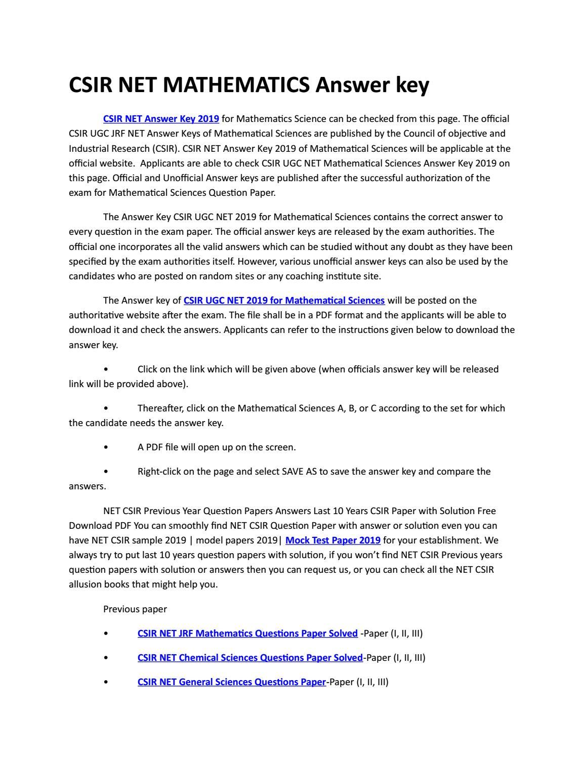 CSIR NET MATHEMATICS Answer key by gurukulum institute - issuu