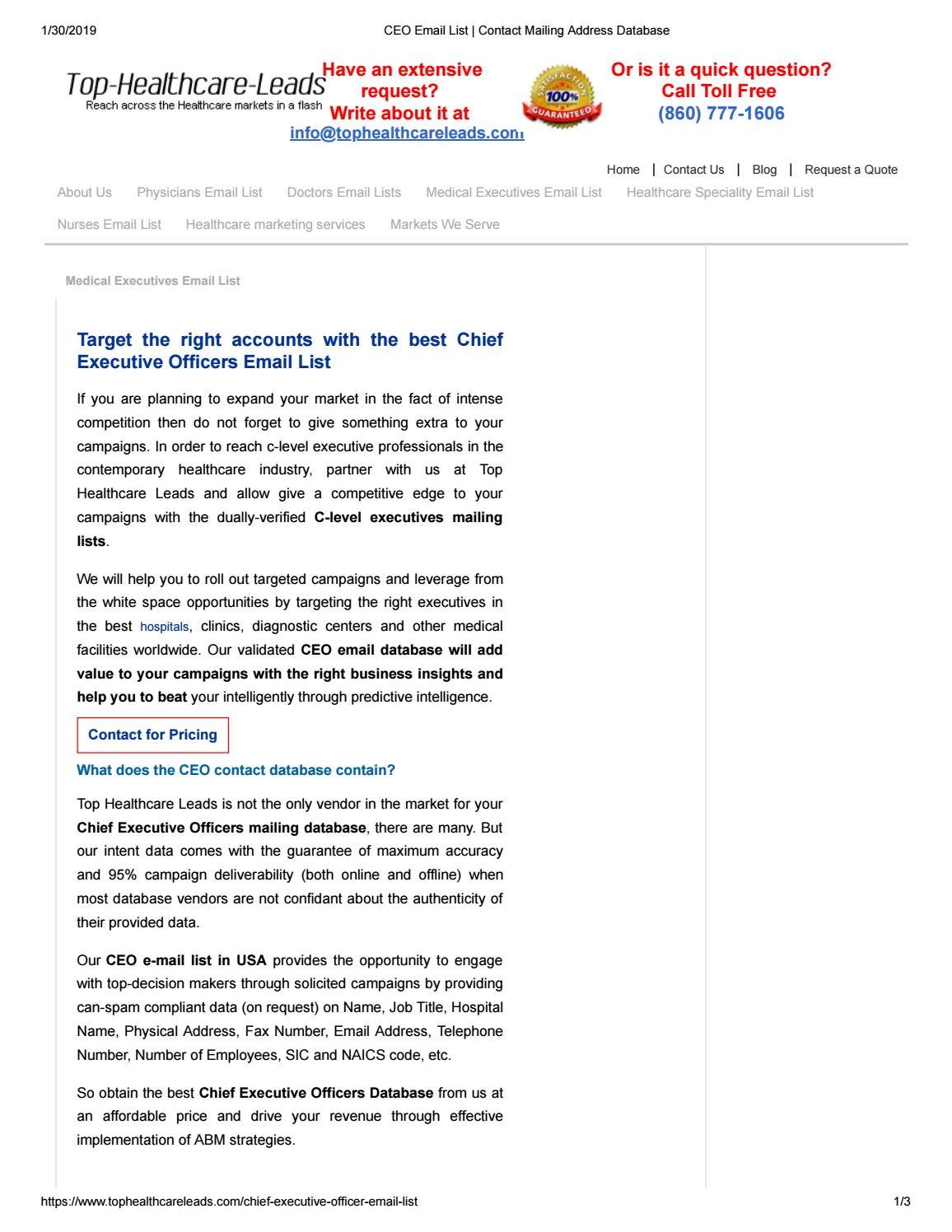 Chief Executive Officers Mailing List by ameliajames112 - issuu