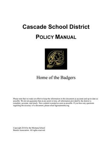 Cascade Public Schools Policy Manual by Montana School