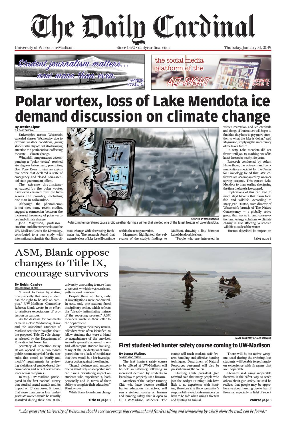 Stats Suggest Lake Mendota Will Remain >> Thursday January 31 2019 By The Daily Cardinal Issuu