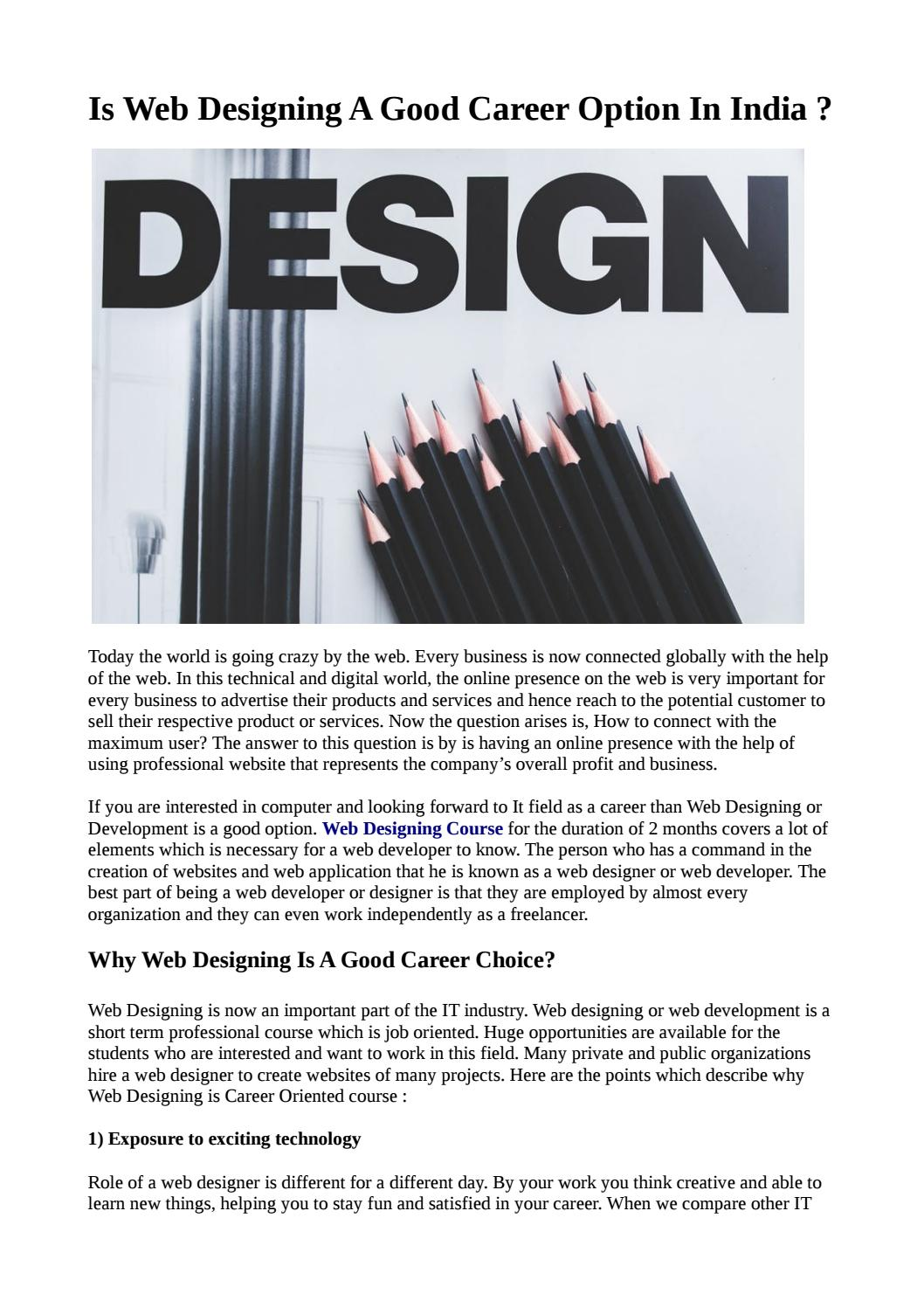 Is Web Designing A Good Career Option In India By Dhanshreed Issuu