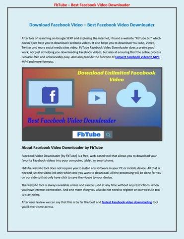 Download Facebook Video – Best Facebook Video Downloader by Steven