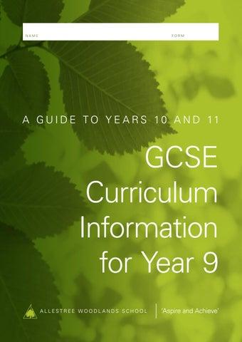 Y9 Curriculum Information Booklet 2019 By Woodlands School