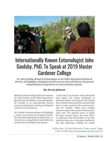 Page 5 of Internationally Known Entomologist John Goolsby, PhD. To Speak at 2019 Master Gardener College