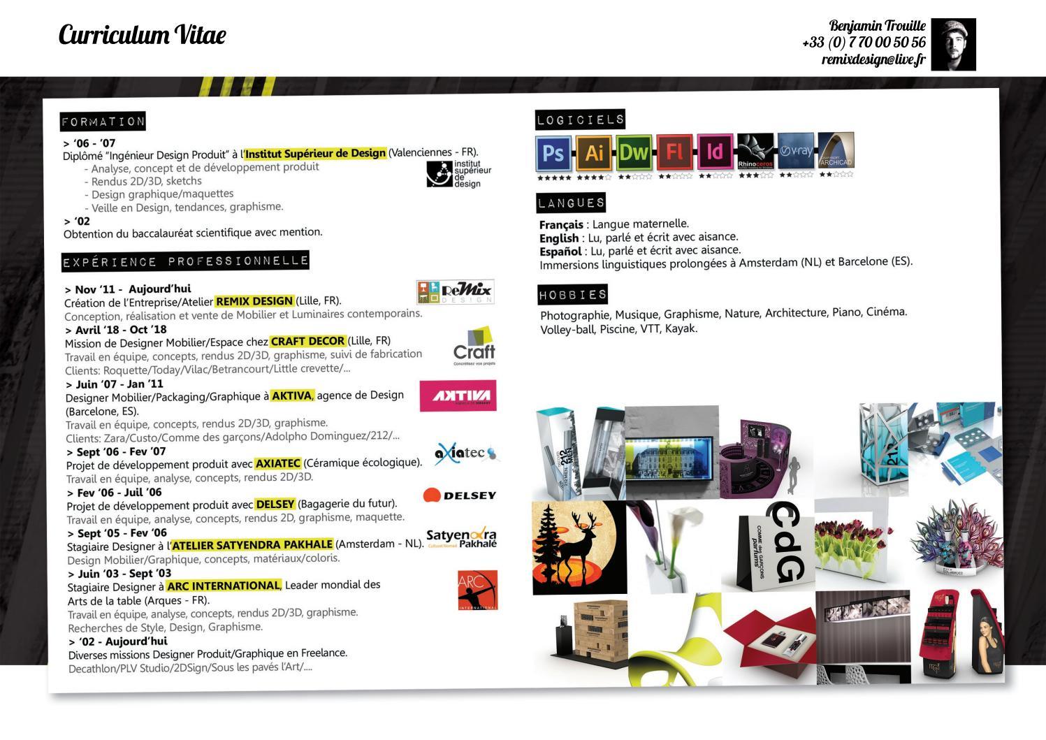 Institut Supérieur De Design Valenciennes cv benjamin trouille product/graphic designerportfolio