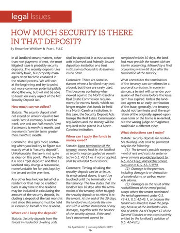 Page 16 of Legal Issues: How much security is there in that deposit?
