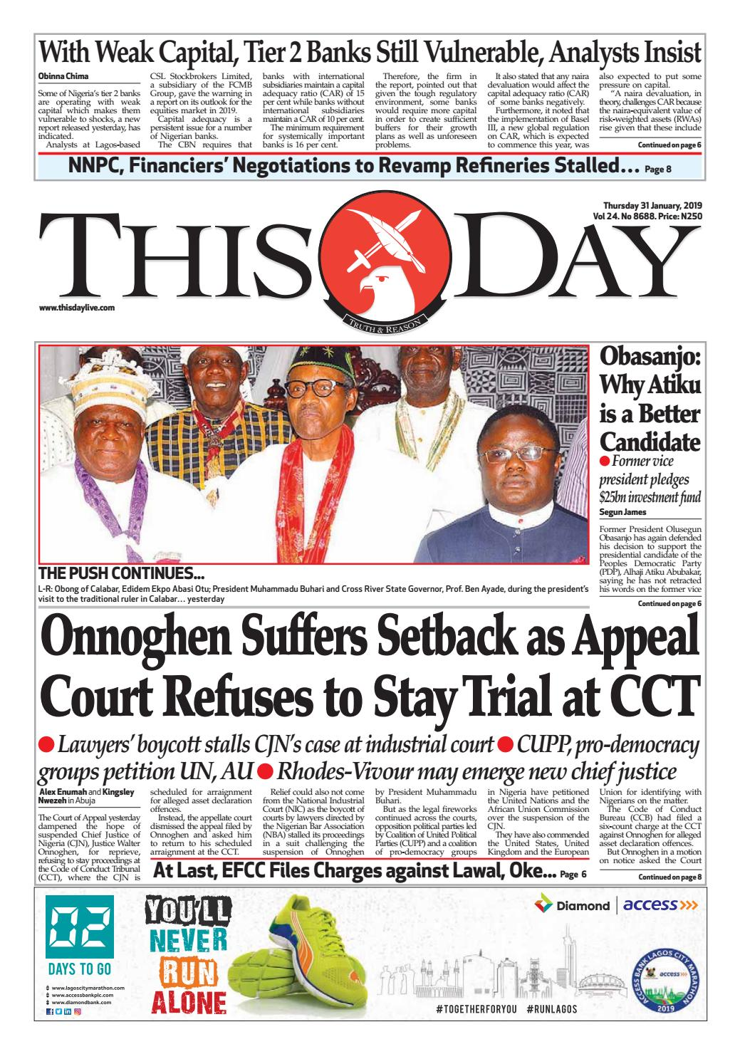 65d55b4339c6a THURSDAY 31ST JANUARY 2019 by THISDAY Newspapers Ltd - issuu
