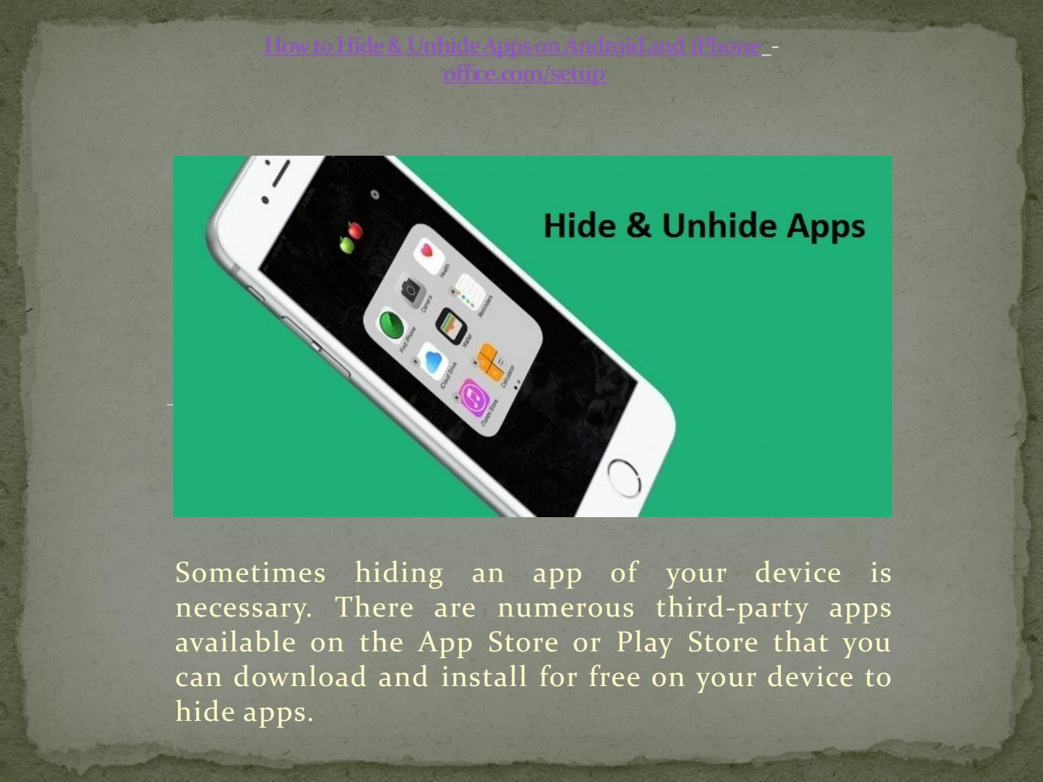 How to Hide & Unhide Apps on Android and iPhone by