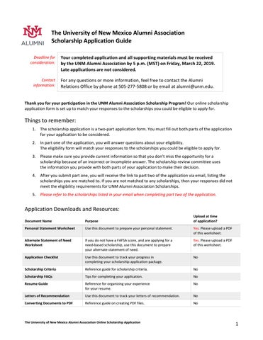 UNM Alumni Asociation Scholarship Application Guide by UNM