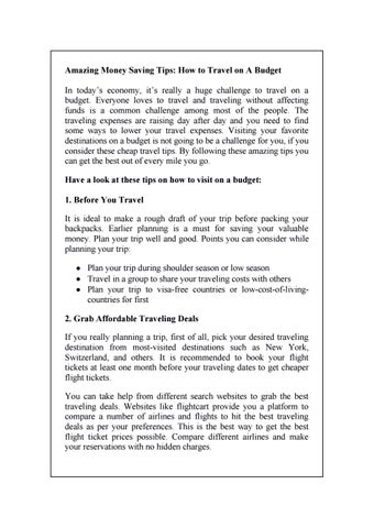 Amazing Tips On Traveling On A Budget Flightcart By Flightcart Issuu