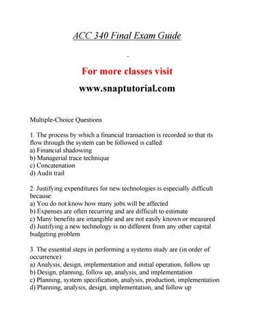 ACC 340 Effective Communication / snaptutorial com