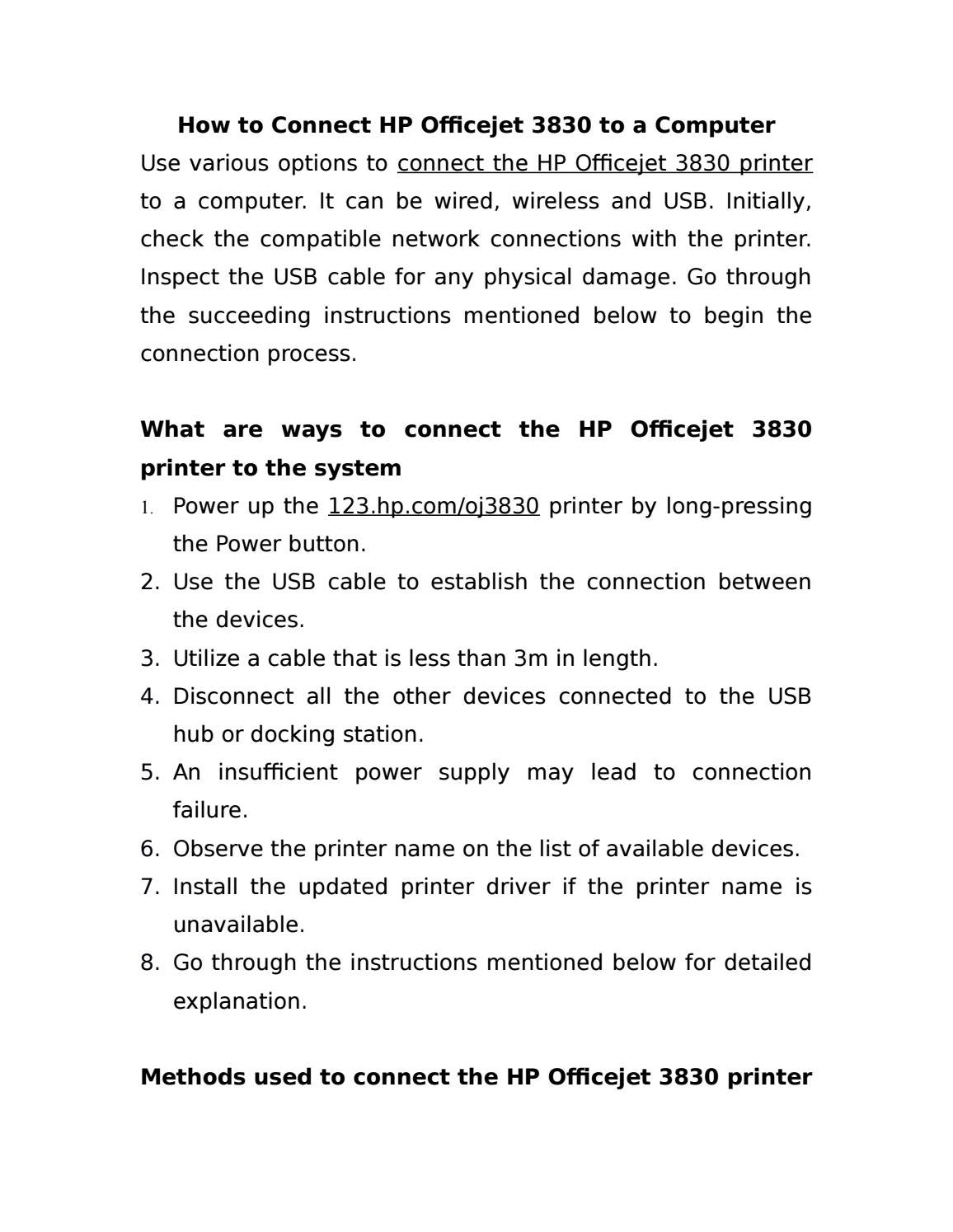 How to Connect HP Officejet 3830 to a Computer | 123 hp com