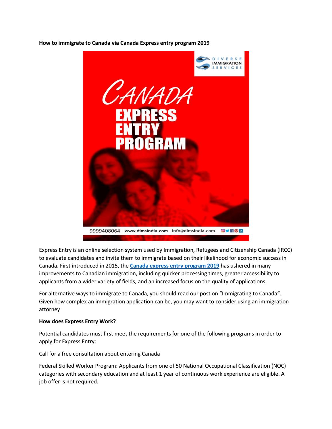 How to immigrate to Canada via Canada Express entry program 2019 by