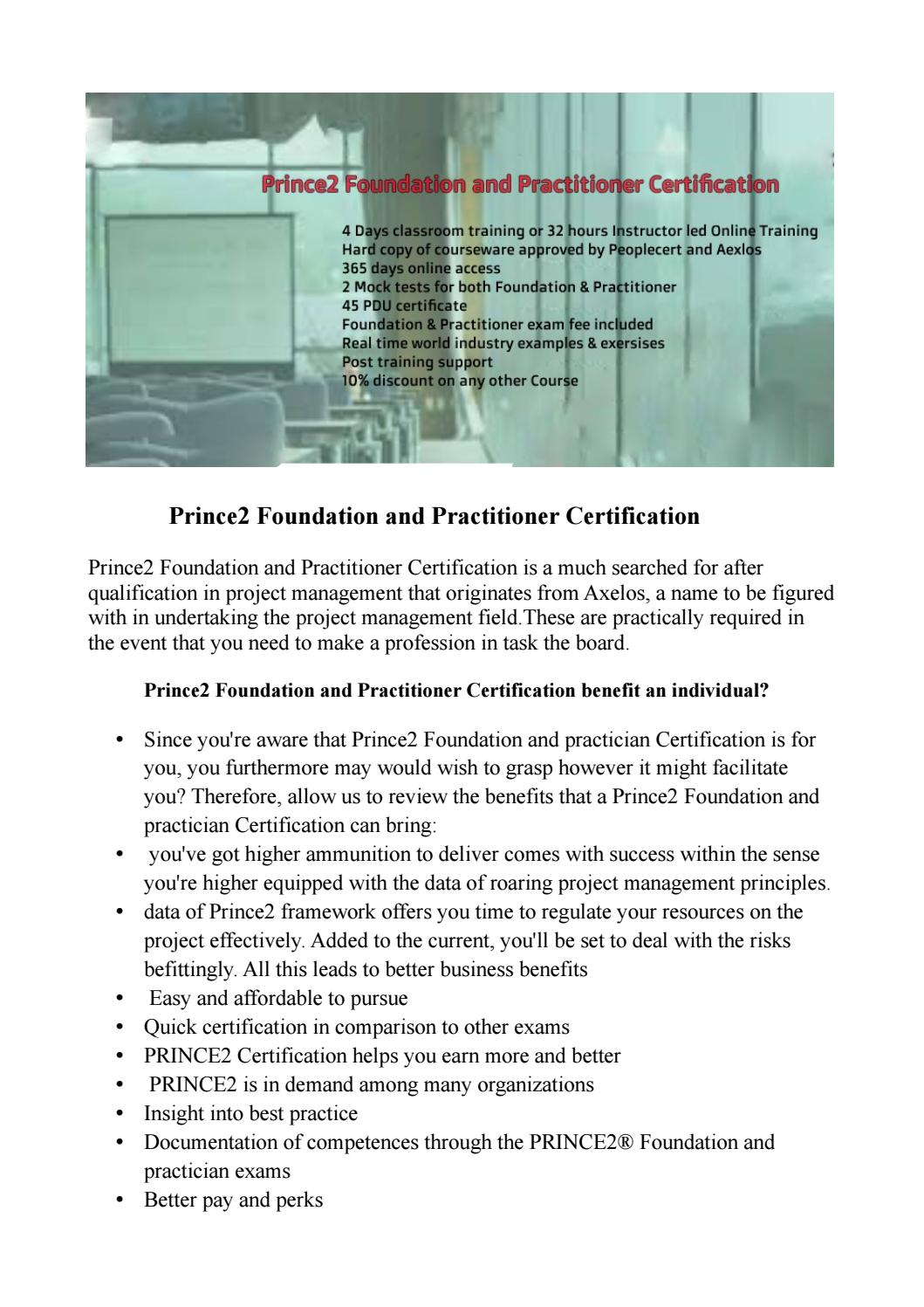 Prince2 Foundation And Practitioner Certification Training Course