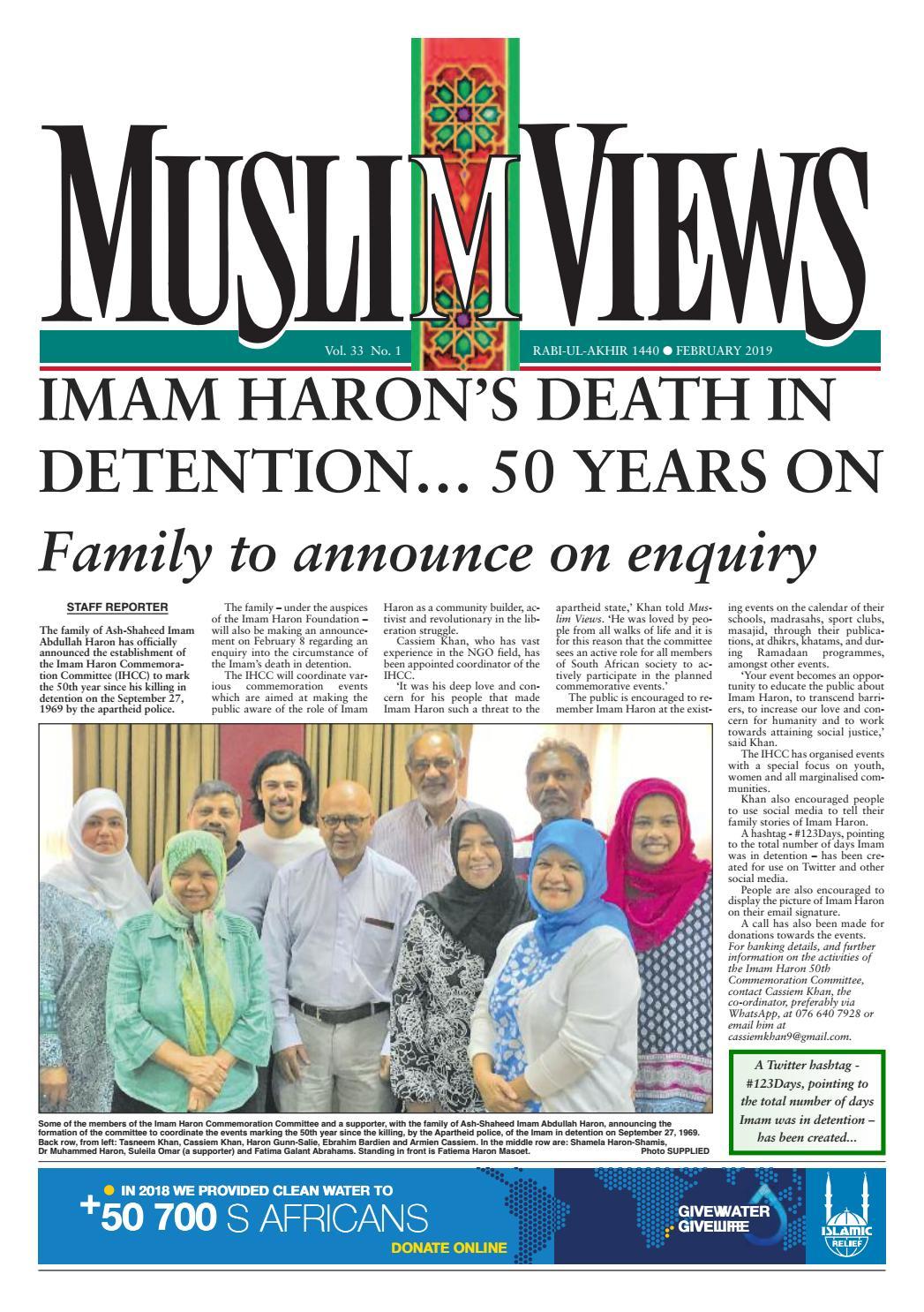 Muslim Views, February 2019 [vol  33 no  1] by Muslim Views