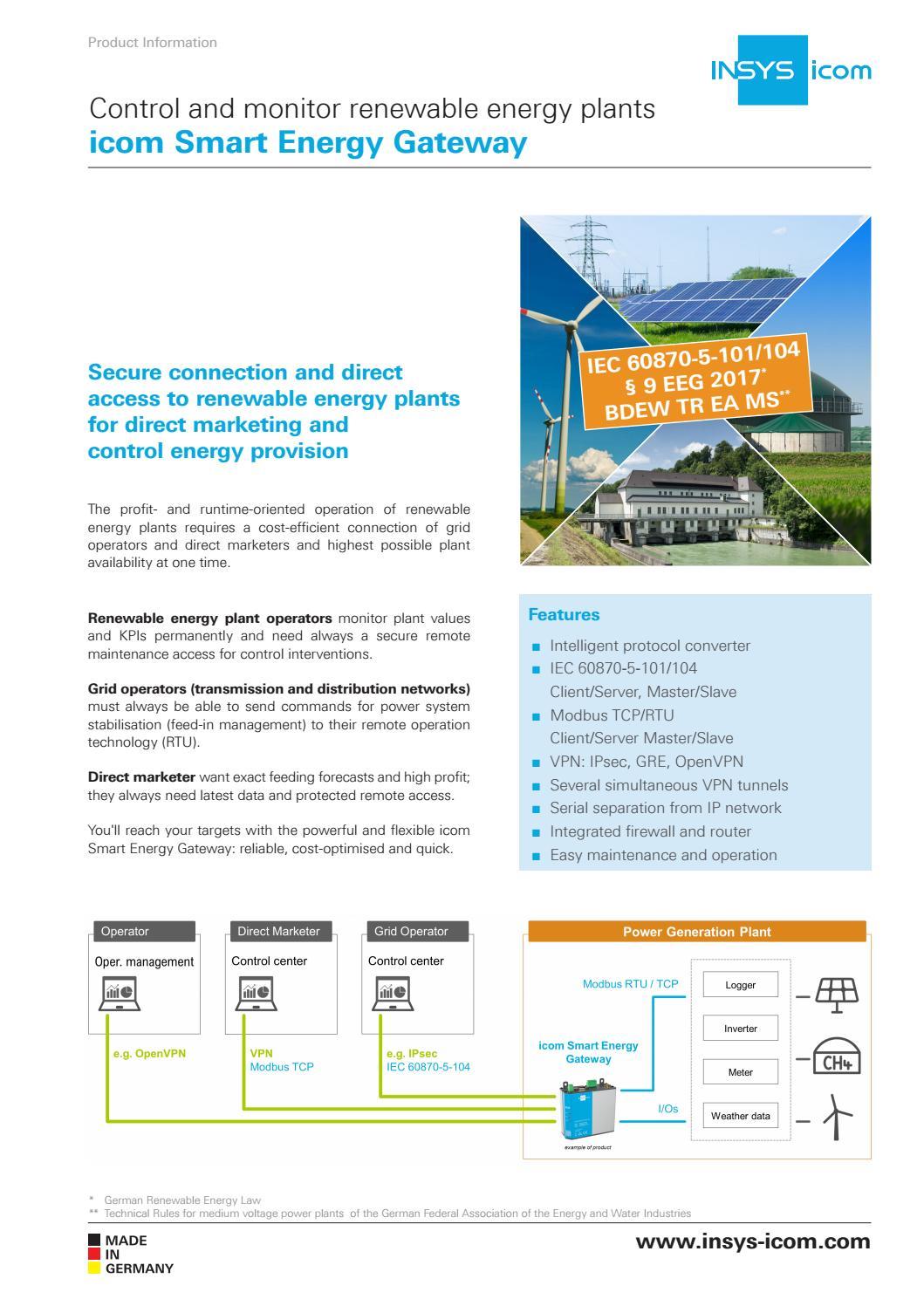 icom Smart Energy Gateway – renewable energy plants by INSYS