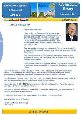 """Cover of """"Boletín N° 1 - XLV Instituto Rotary Buenos Aires 2019"""""""
