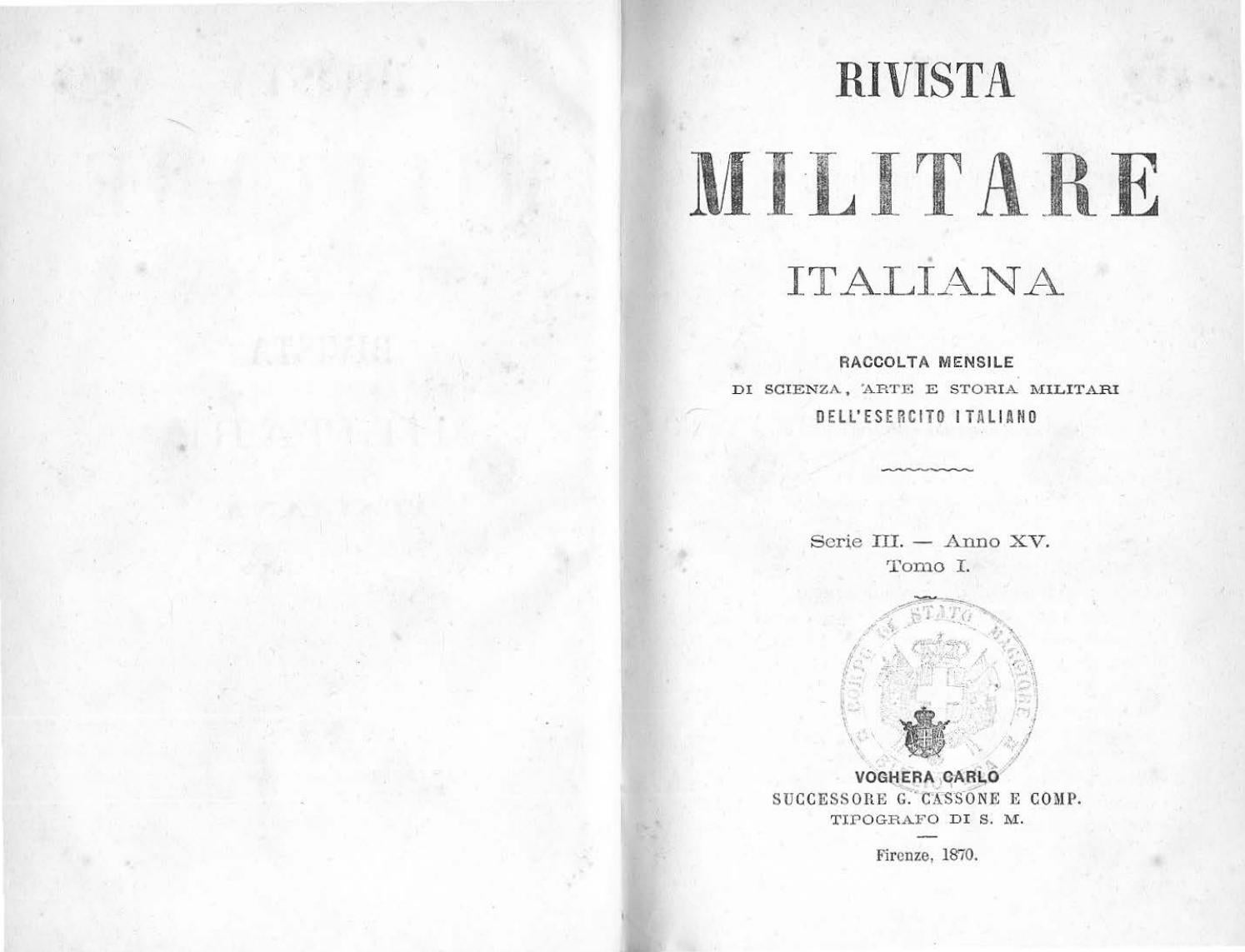 41811339af733 RIVISTA MILITARE 1870 TOMO I by Biblioteca Militare - issuu