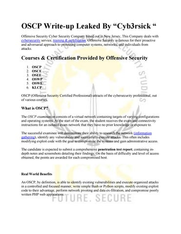 "OSCP Write-up Leaked By ""Cyb3rsick "" by akansha - issuu"