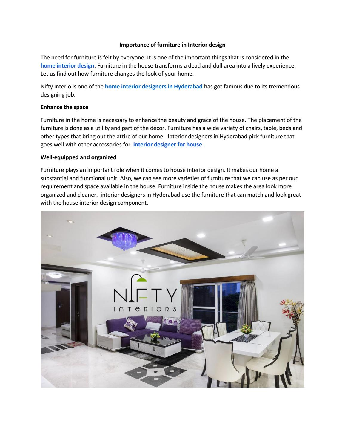 Importance Of Furniture In Interior Design By Niftyinterio Issuu