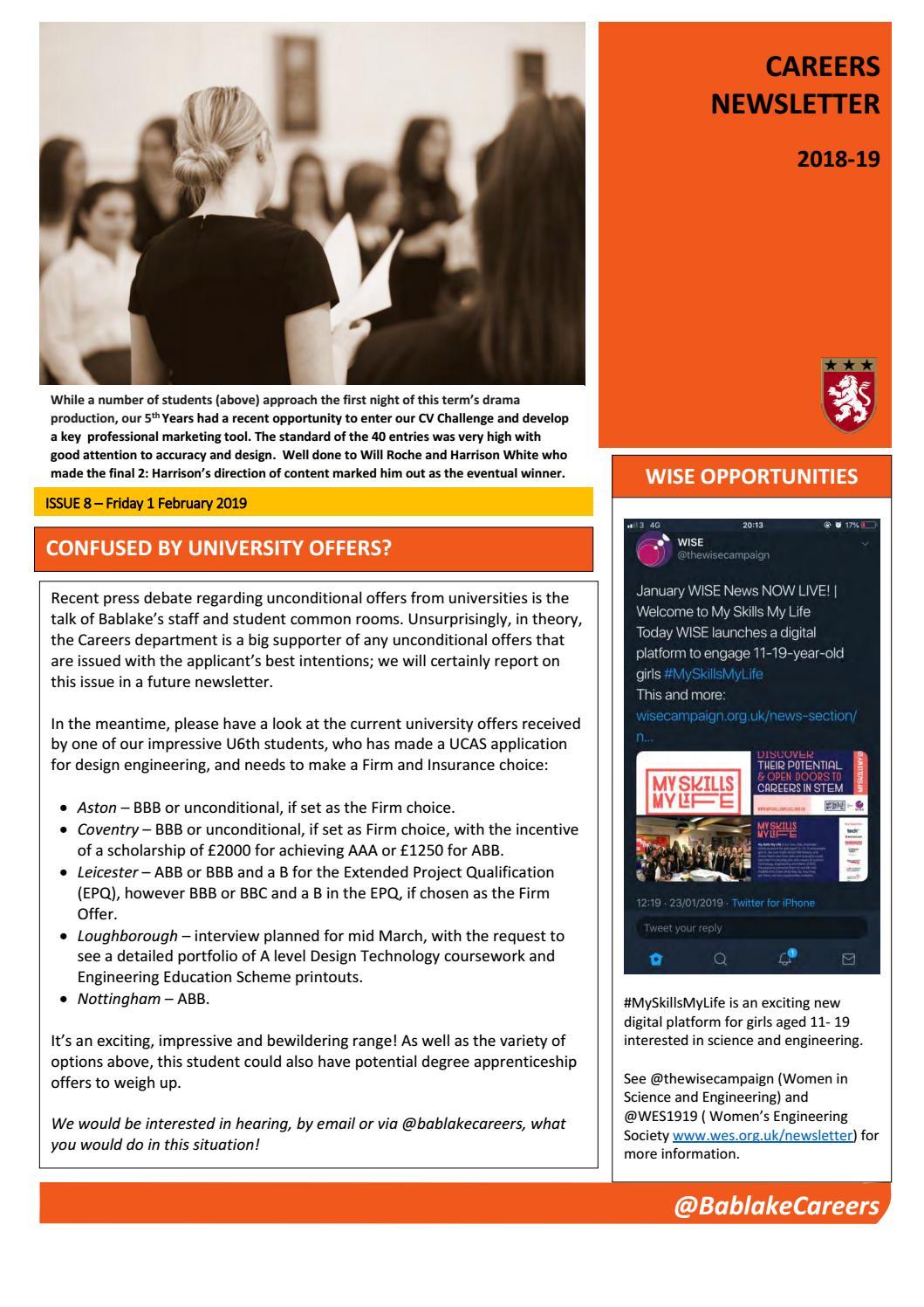 6e6f4503529 Bablake Careers Newsletter - Issue 8 (18-19) by Bablake - issuu