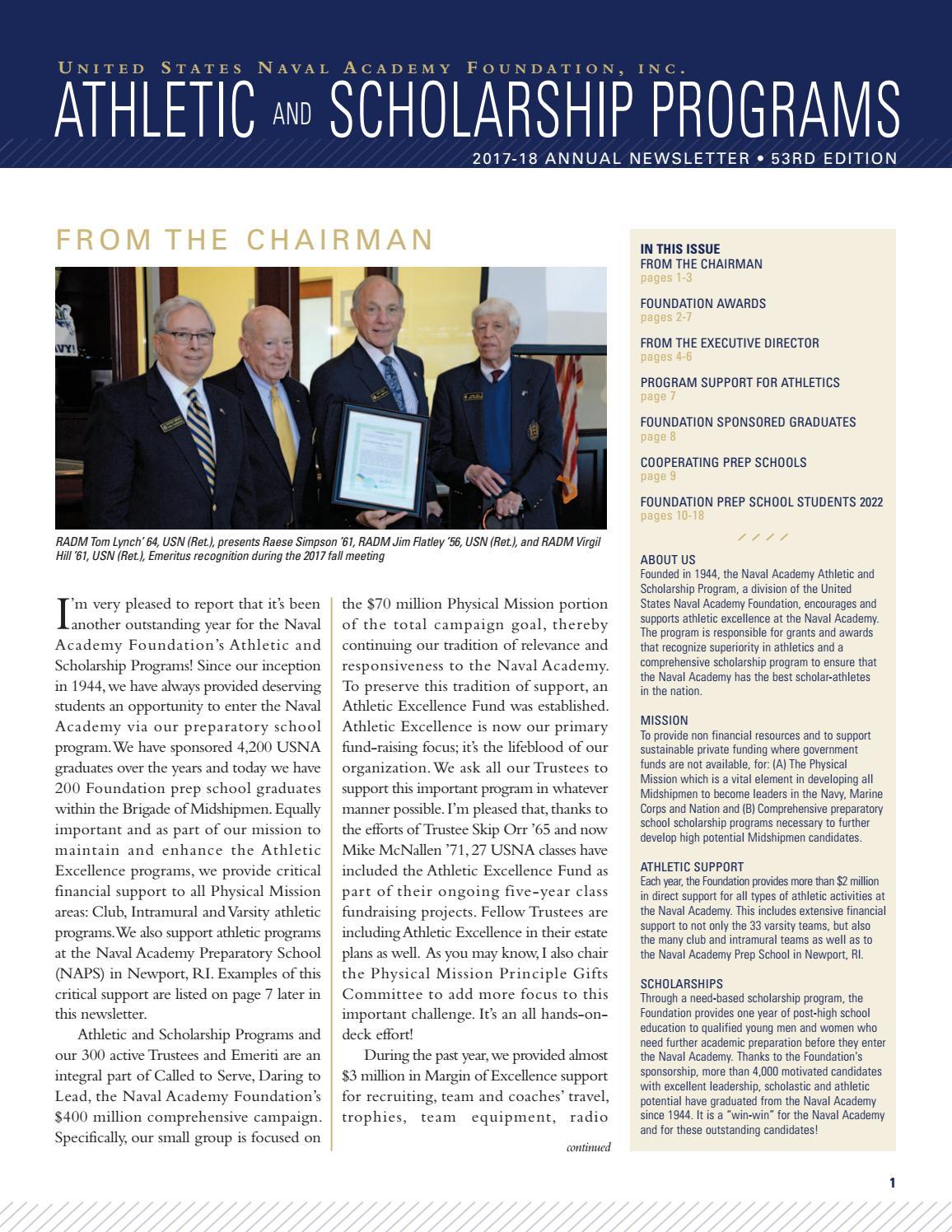 U S  Naval Academy Foundation Athletic & Scholarship