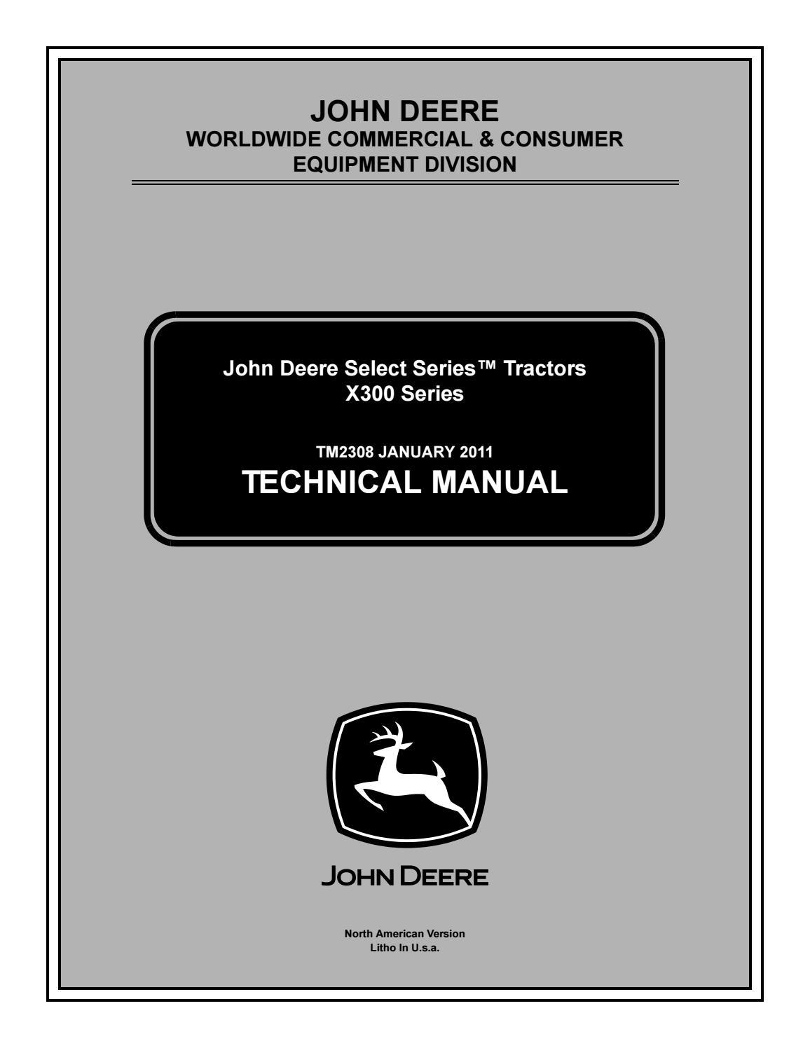 JOHN DEERE X304 LAWN TRACTOR Service Repair Manual by 163114103 - issuu | X300 Wiring Diagram |  | Issuu