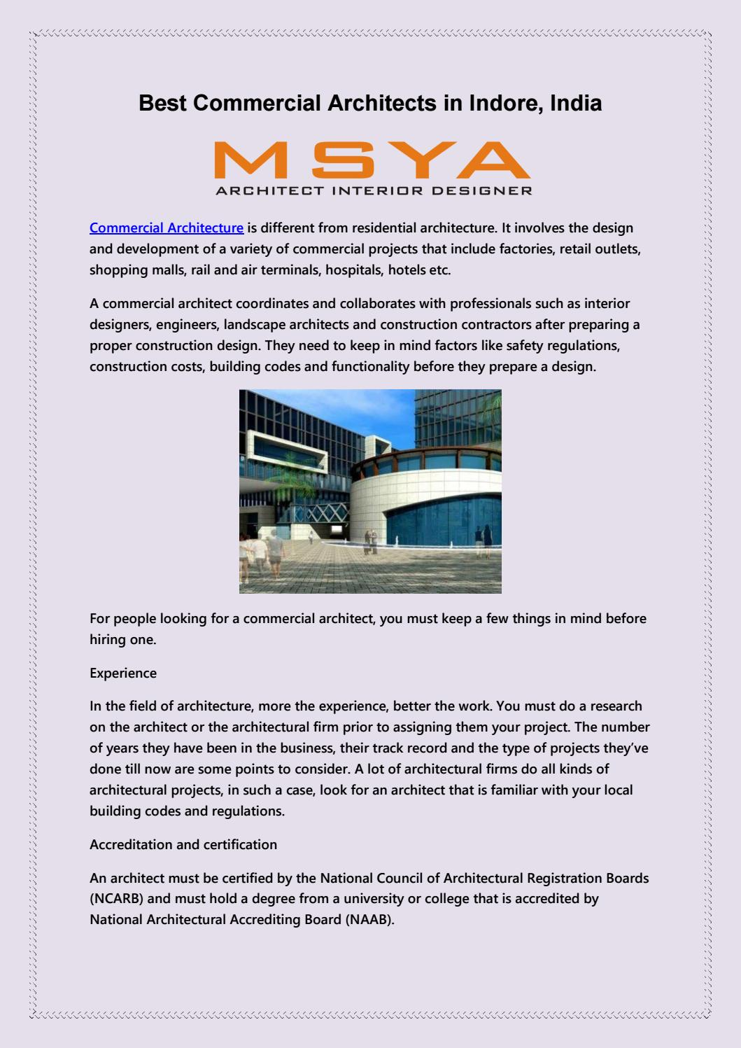 Best Commercial Architects In Indore India Msya By Msyaarchitects18 Issuu