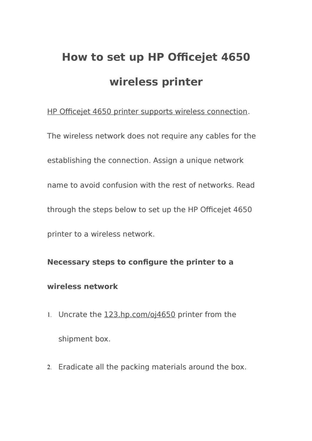 How to setup hp officejet 4650 wireless printer by sandra