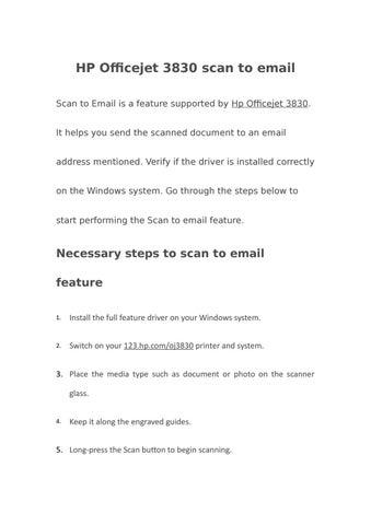 HP Officejet 3830 Scan to email | 123 hp com/oj3830 by sandra carol