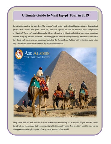 Ultimate Guide to Visit Egypt Tour in 2019 by Ask Aladdin