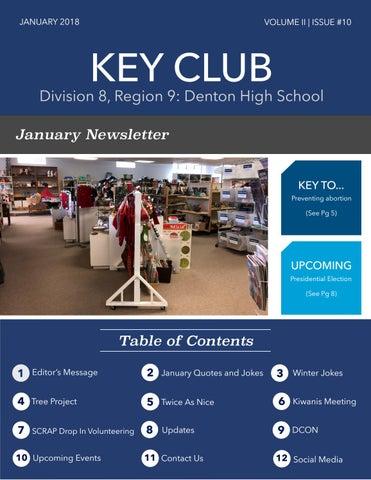 D8, Region 9 Denton High School Key Club January Newsletter ...