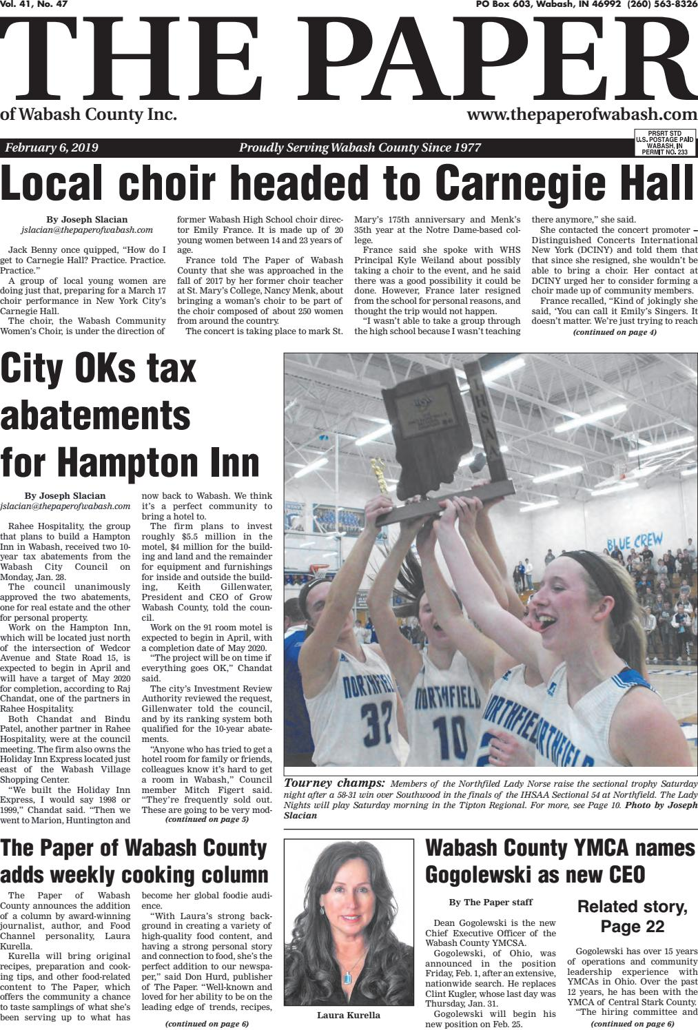 e1c99b5f9d The Paper of Wabash County - Feb. 6, 2019 Issue by The Paper of ...