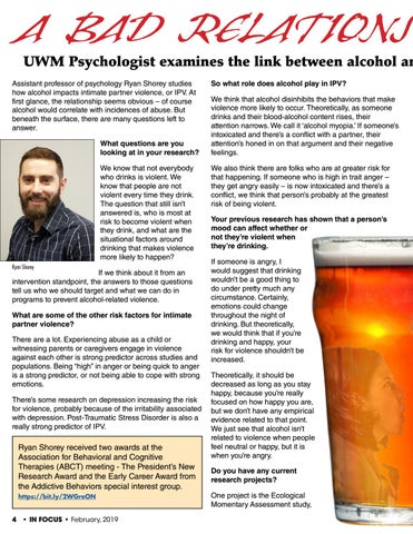 Page 4 of A Bad Relationship: UWM Psychologist examines the link between alcohol and intimate partner violence