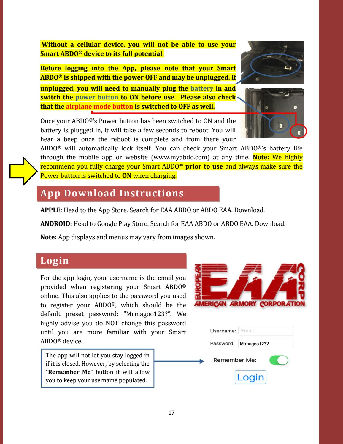 USER MANUAL: Smart ABDO™ iPhone® and Android® Smartphone App by EAA