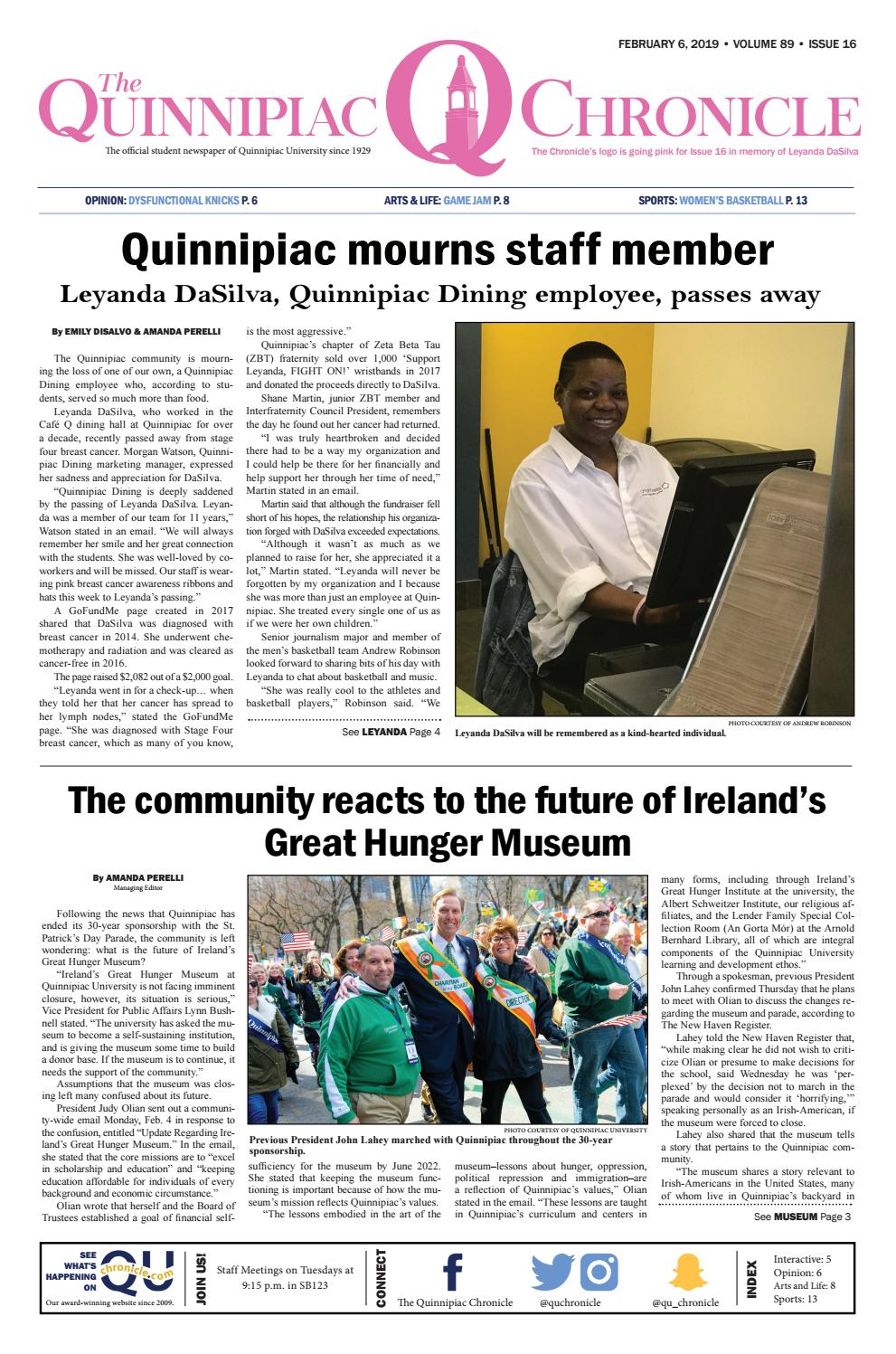 The Quinnipiac Chronicle, Issue 16 Volume 89 by The