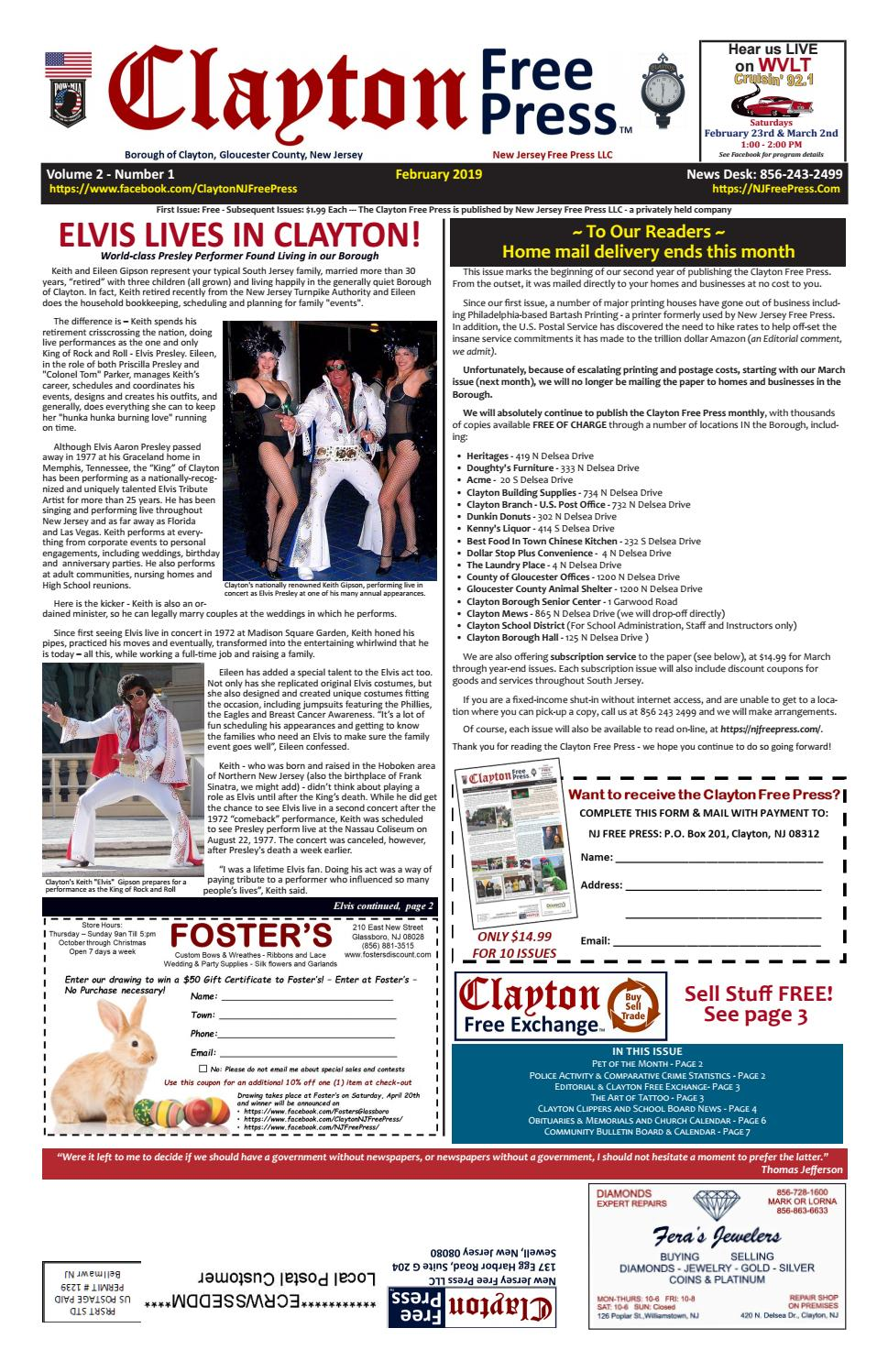 Clayton Free Press February 2019 By Clayton Front Page Issuu