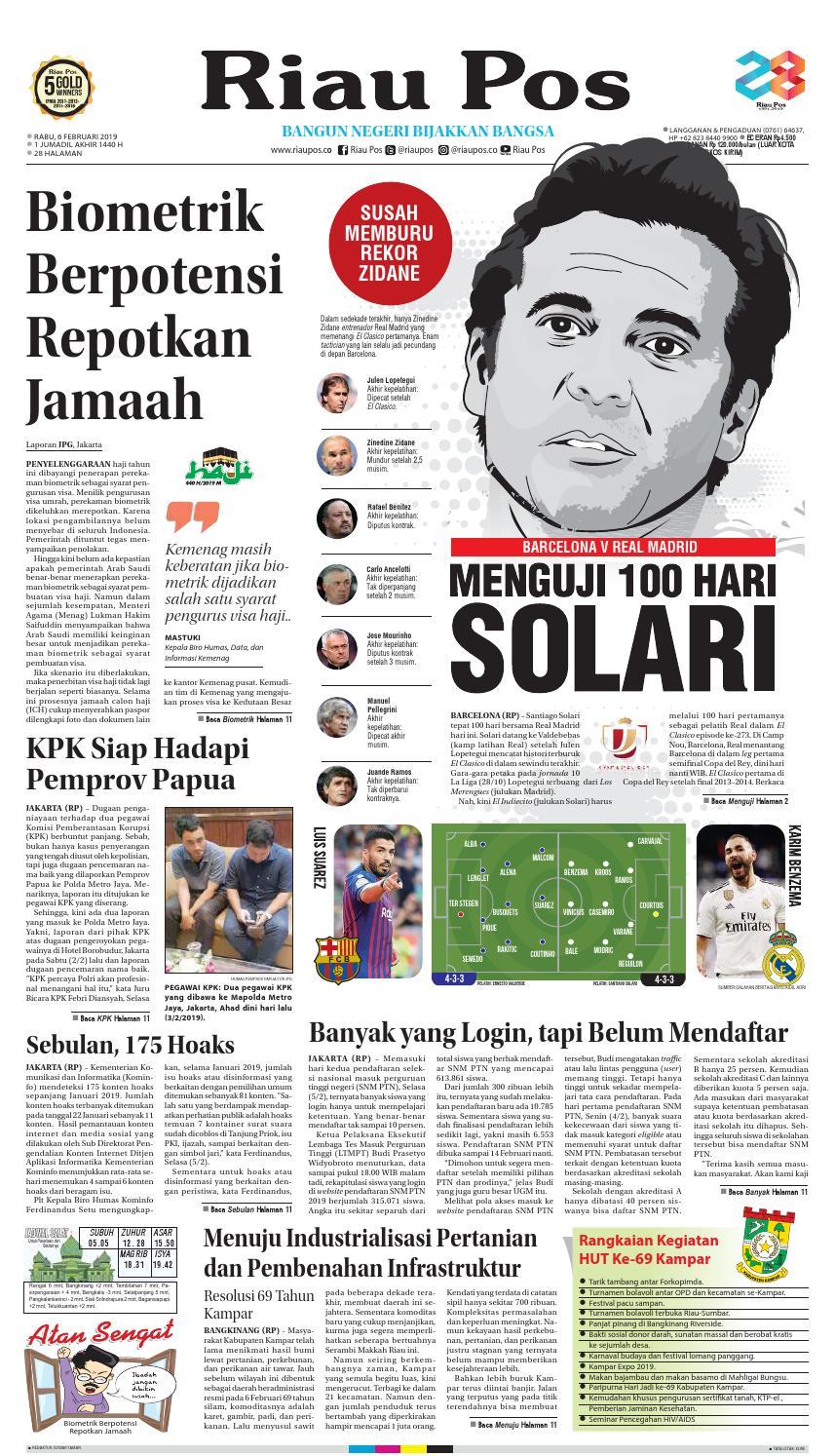 RIAUPOS EDISI RABU 06 FEBRUARI 2019 by Riau Pos issuu