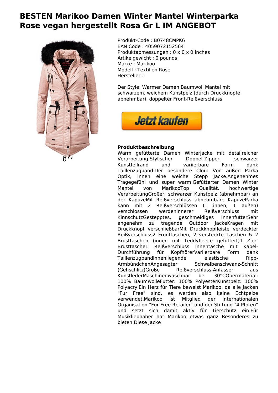 Marikoo Rose Mantel Besten Damen Winterparka Vegan Winter 0N8wOvmn