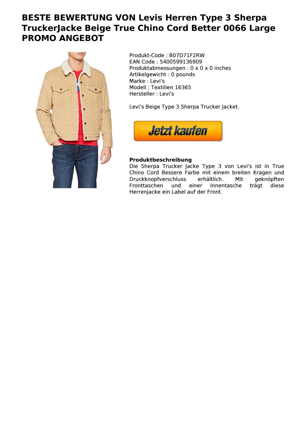 Details zu Levi's Herren Winter Jacke Type 3 Sherpa Parka Trucker True Chino Cord (beige)
