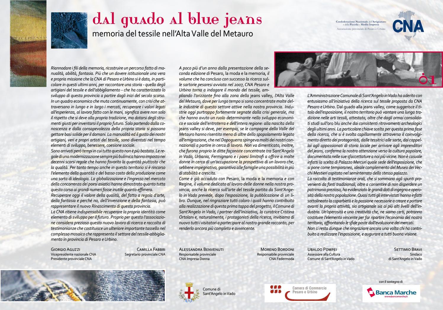 Dal guado al blue jeans - Memoria del tessile nell Alta Valle del Metauro  by Cristina Ortolani - issuu 696bc248df2