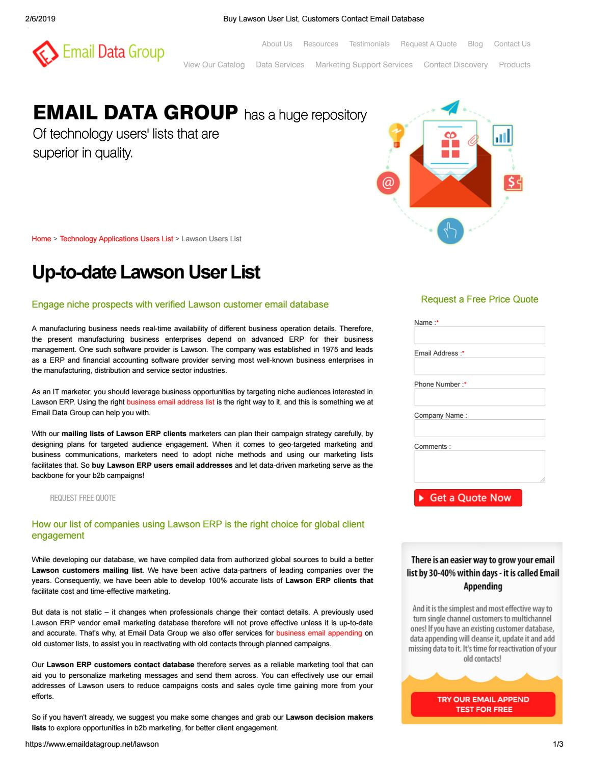 Lawson User Email Addresses - Email Data Group by