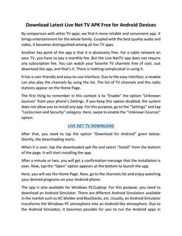 Download Latest Version of Live Net TV APK by venessatripy