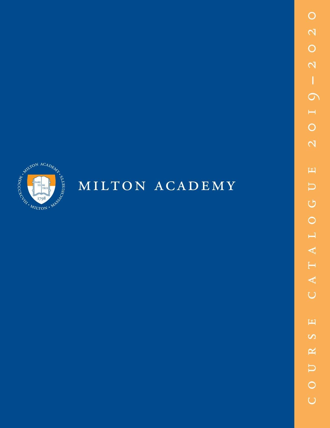 Course Catalogue 2019 2020 By Milton Academy Issuu