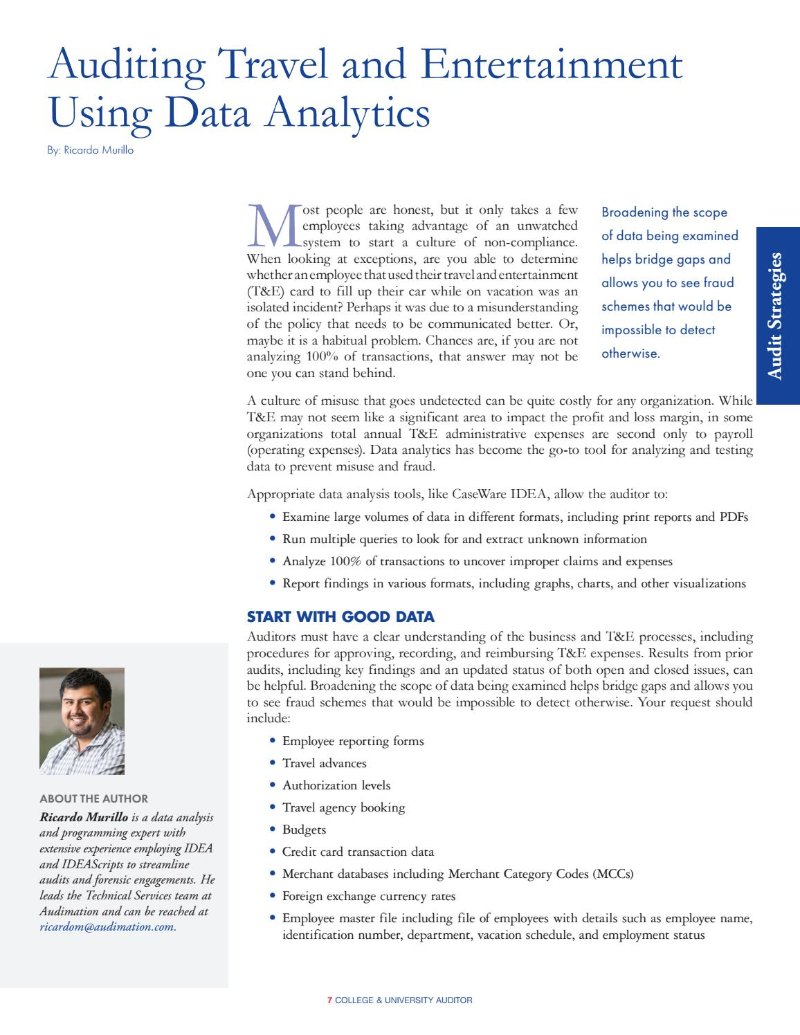 Auditing Travel And Entertainment Using Data Analytics By