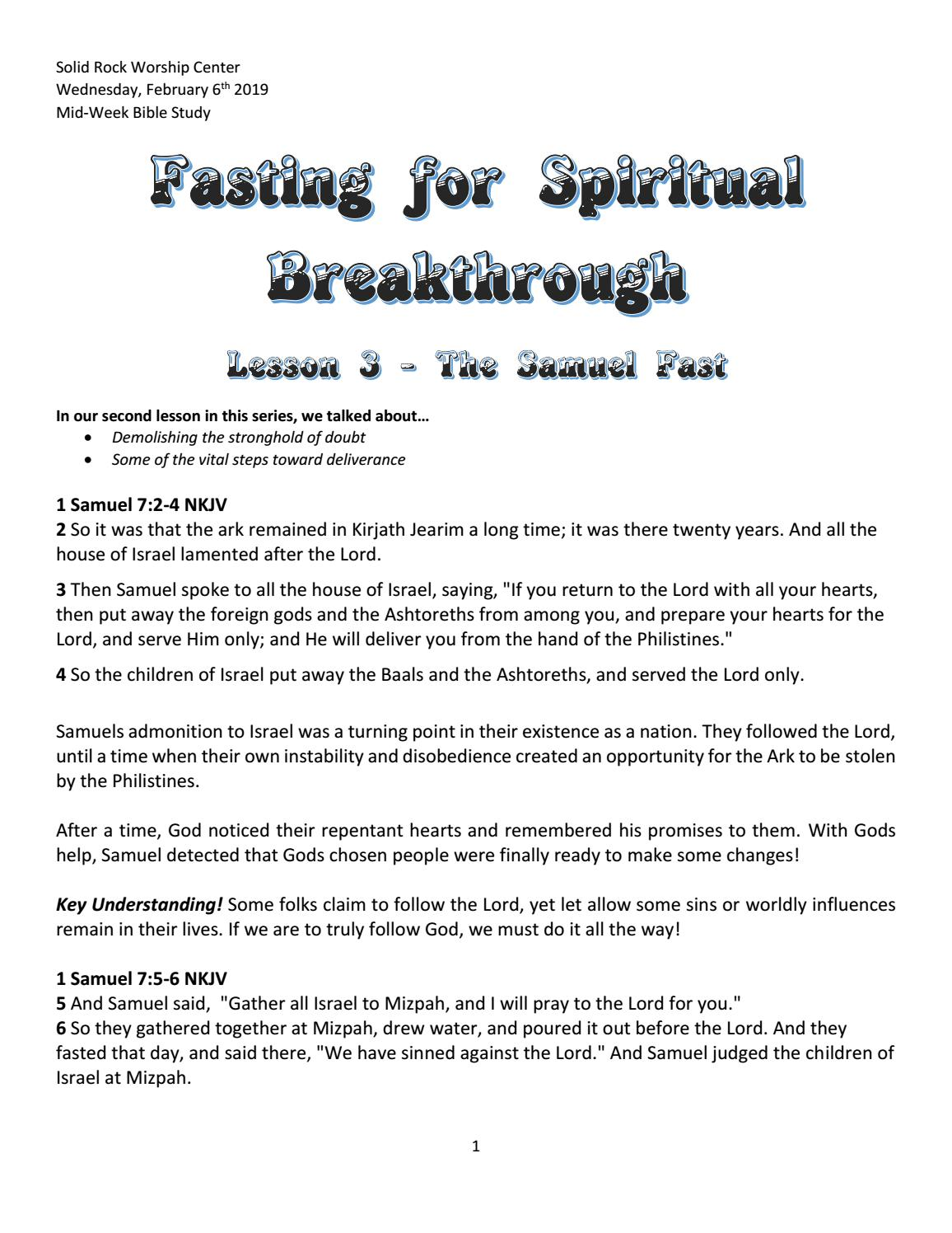 Fasting For Spiritual Breakthrough Lesson 3 by Bobby Gray
