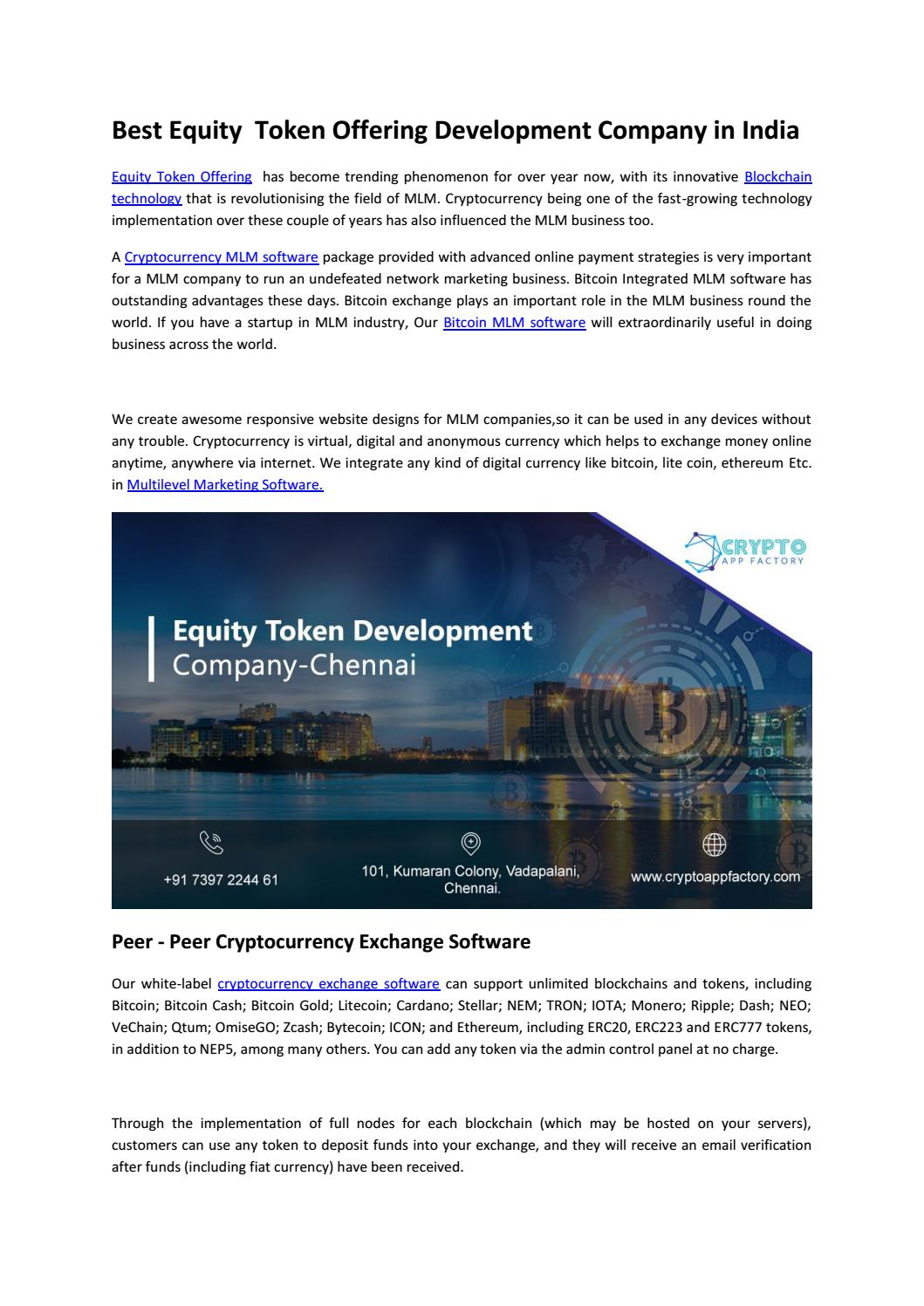 Best Equity Token Offering Development Company in India by