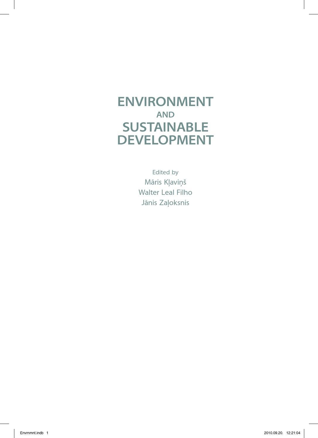 Environment And Sustainable Development By Janis Brizga Issuu